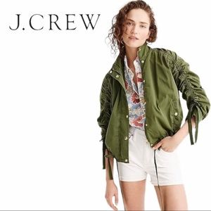 J Crew | Ruched-Sleeve Green Field Jacket - Size Med